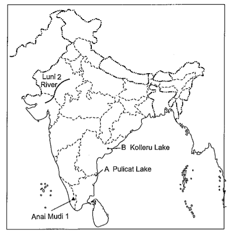 kolleru lake in india map On The Given Outline Political Map Of India Write Names Of Features Marked As Kolleru Lake kolleru lake in india map