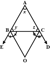 In Fig. Sides AB And AC Of Triangle ABC Are Produce To E And D  Respectively. If Angle Bisectors BO And CO Of CBE And BCD Meet Each Other At  Point O ,