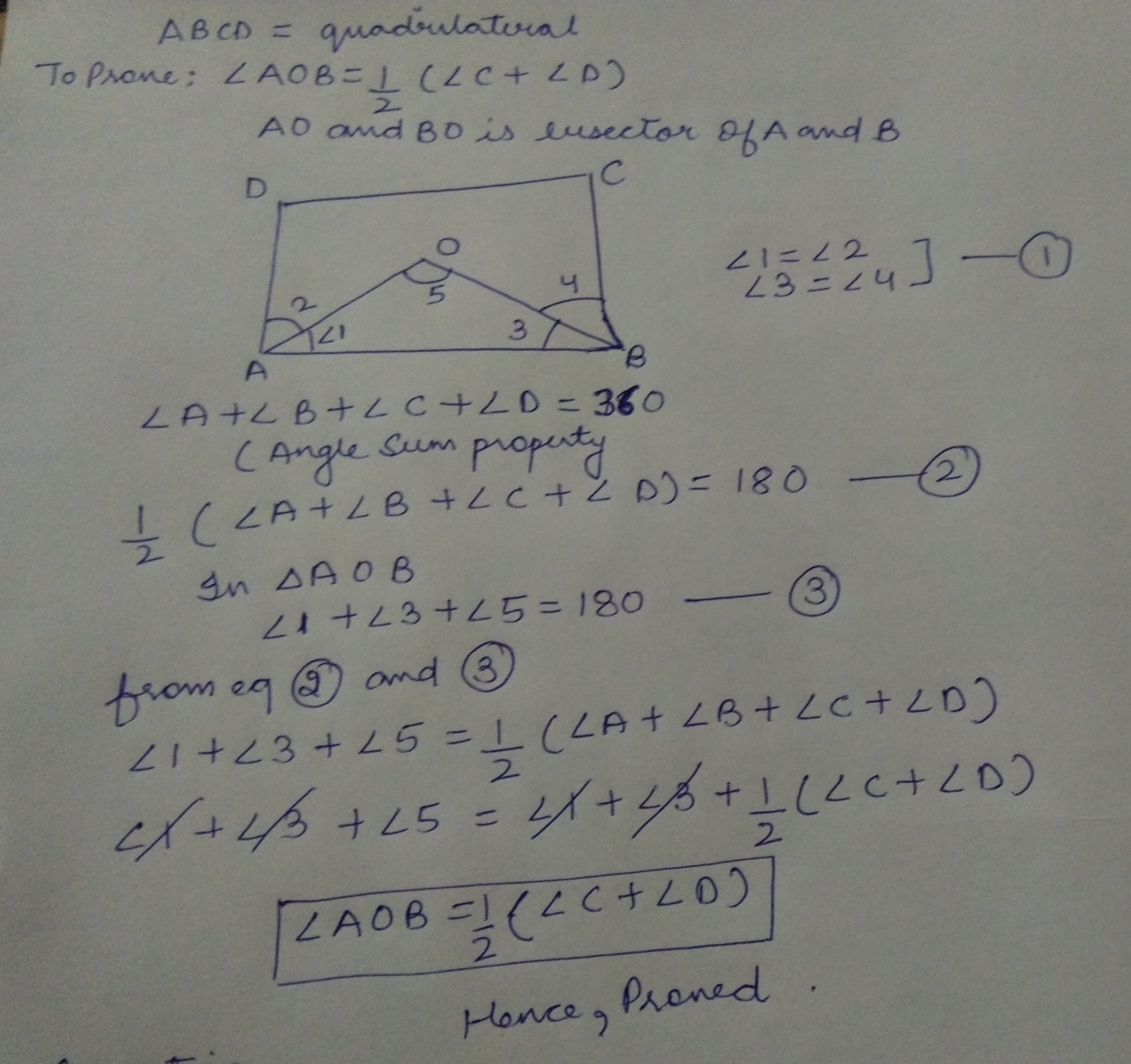 In A Quadrilateral Abcd Ao And Bo Are Bisectors Of Angle A And Angle B Respectively Prove That Aob 12 C D