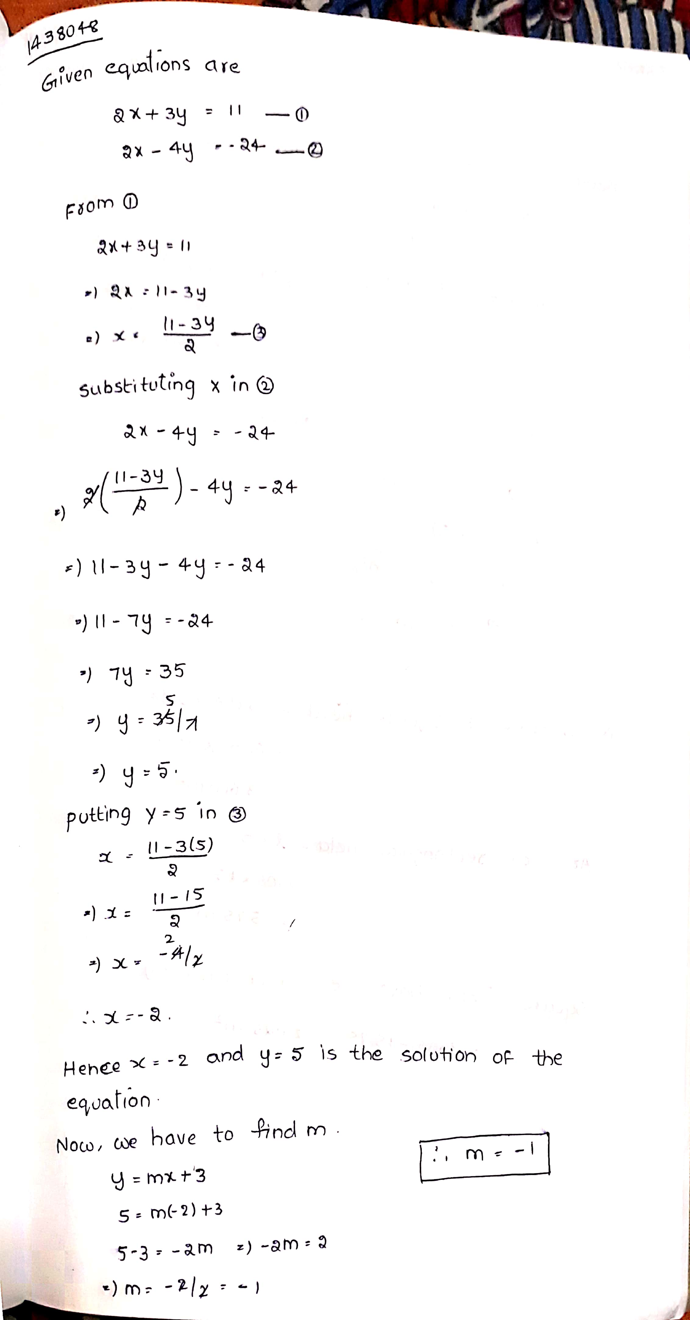 Solve 2x 3y 11 And 2x 4y 24 And Hence Find The Value Of M For Which Y Mx 3