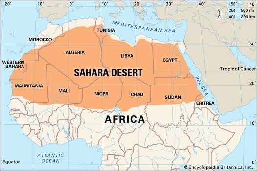 Sahara Desert On Africa Map The Sahara desert touches eleven countries.W toppr.com
