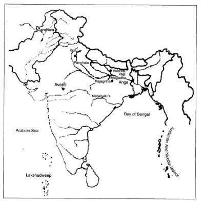 On An Outline Physical Map Of India Mark These Janapadas Or Mahajanapadas I Gandhara Ii Kuru Iii Panchala Iv Kosala V Avanti Vi Magadha Vii Anga Viii Vajji