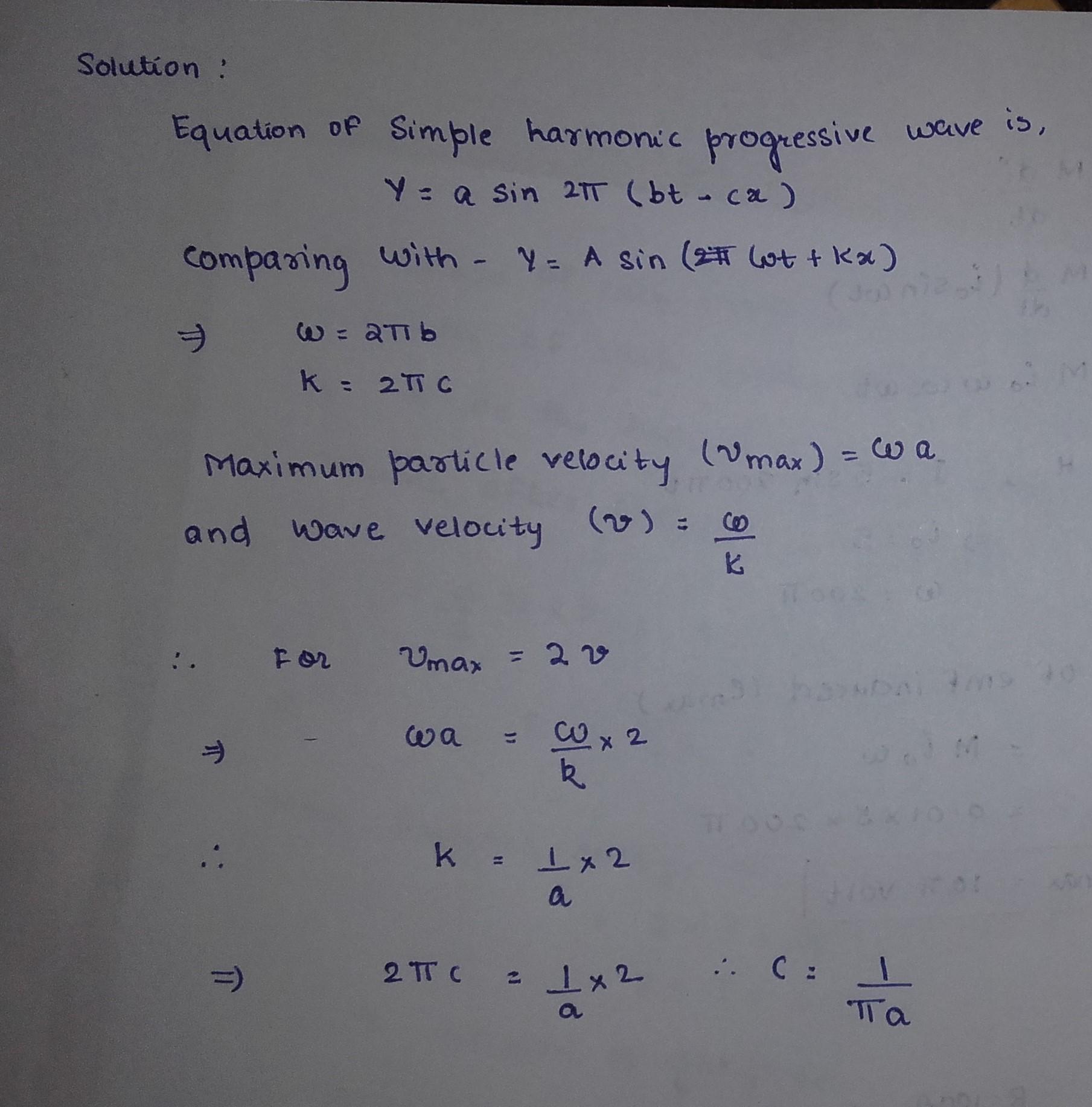 The equation of simple harmonic progressive wave i toppr.com