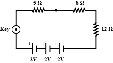 Draw a schematic diagram of a circuit consisting of a battery of three  cells of 2 V each, a 5 Ω resister, an 8 Ω resistor and a 12 Ω resistor and | Battery Schematic Diagram |  | Toppr