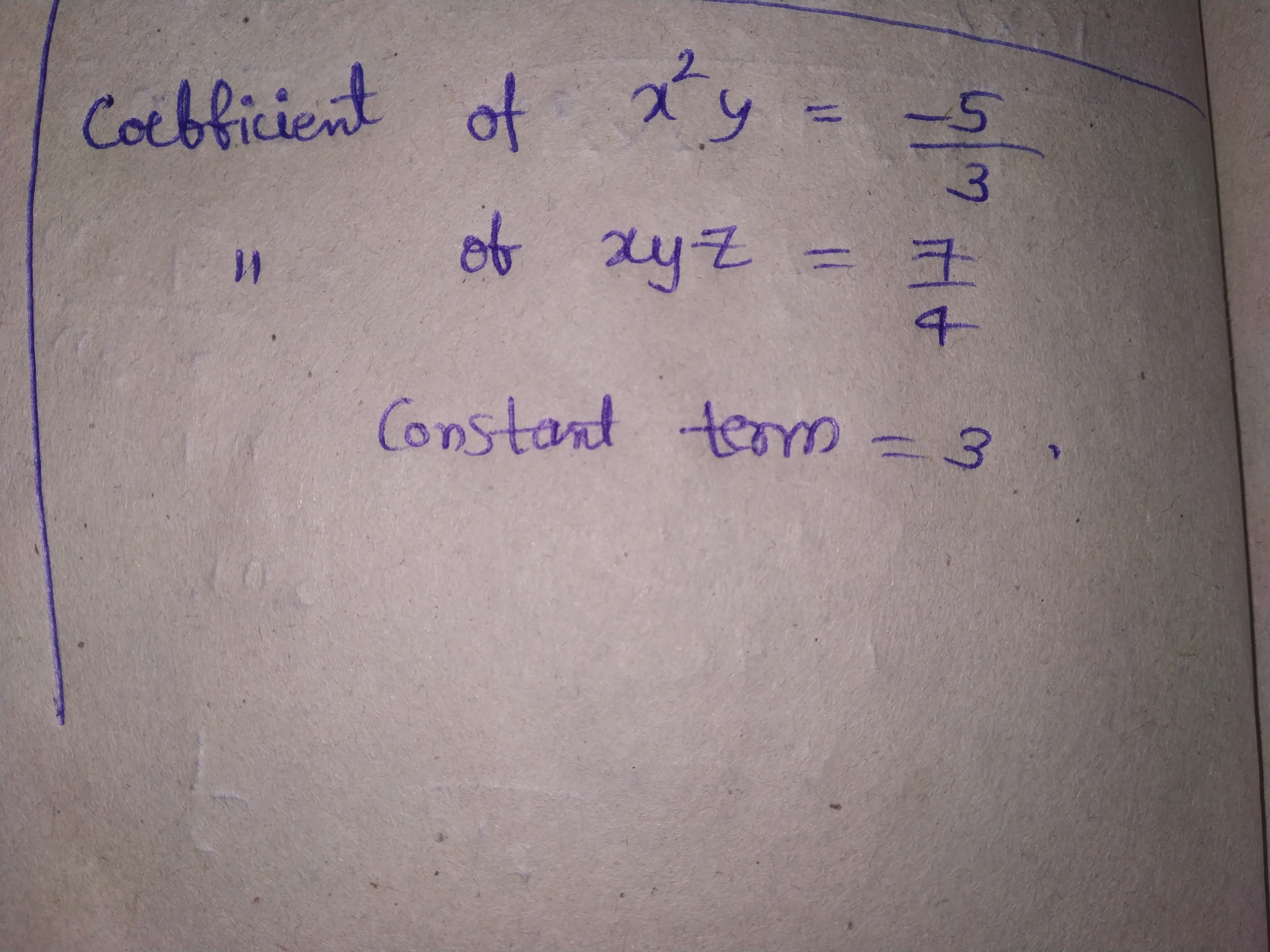 Write The Numerical Coefficient Of Each Term In The Following Algebraic Expressions 53x 2y 74xyz 3