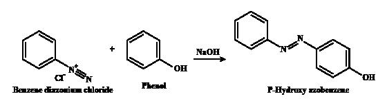 Phenol is treated with benzene diazonium chloride