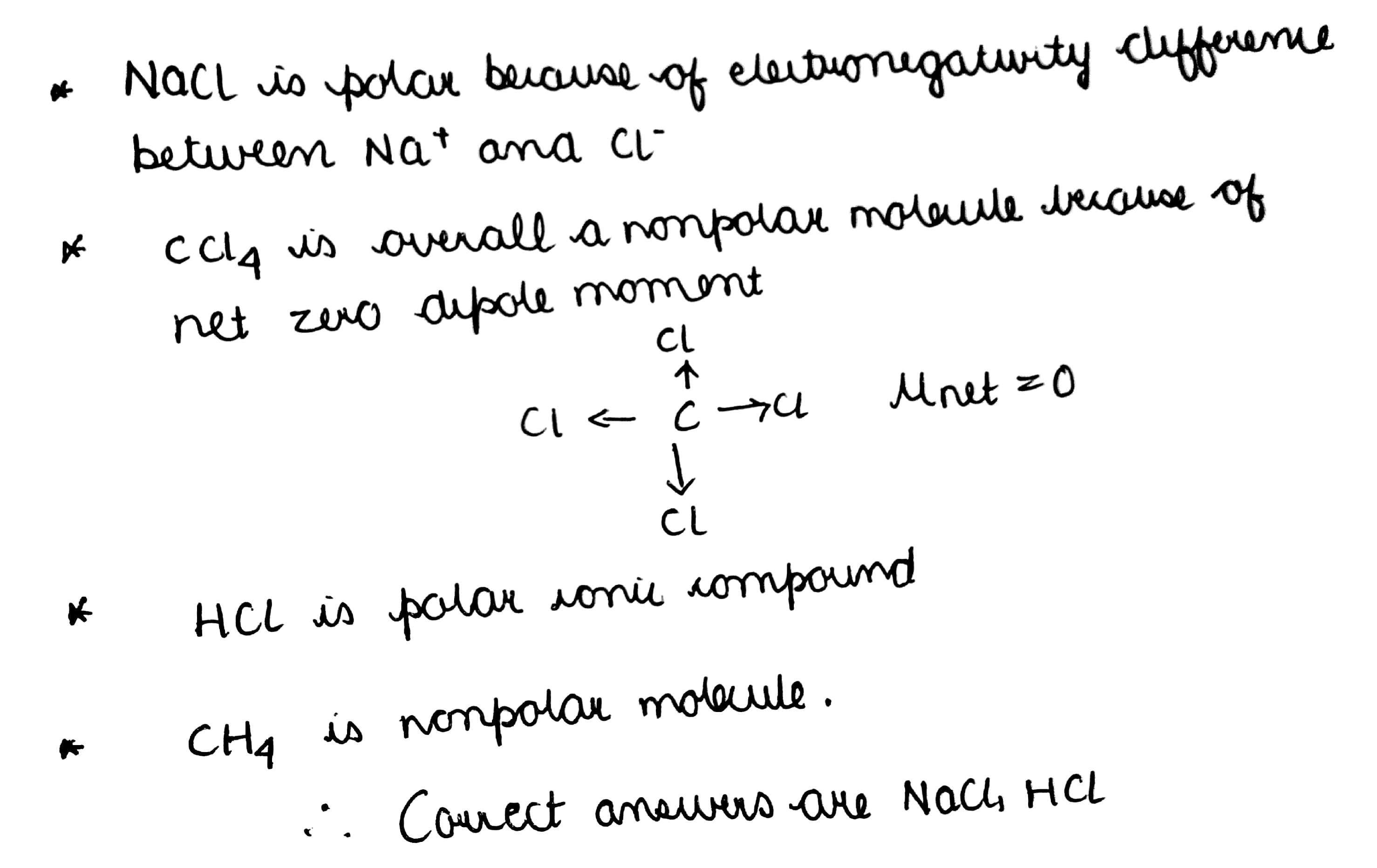 Among The Following Nacl Ccl4 Hcl And Ch4 Which Is A Polar Compounds