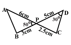 SOLVED] In figure, two lines segments AC and BD intersect each other at the point P such that PA = 6cm , PB = 3cm , PC = 2.5cm , PD =