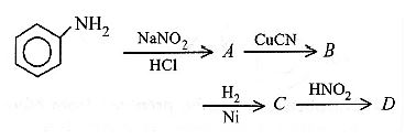 Aniline in a set of reactions yielded a product D .The structure of the  product D would be: